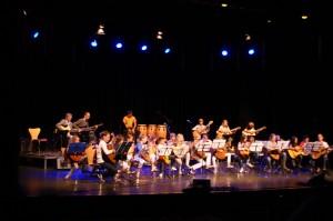 Een podium vol gitaarleerlingen